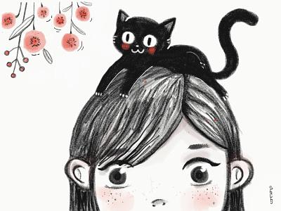 Peek a boo floral girl black cat