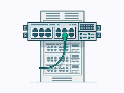 Your Port blue technical line art vector illustration switch port network