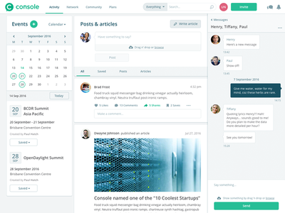 Console social platform feed dashboard web ux ui chat articles posts events social network