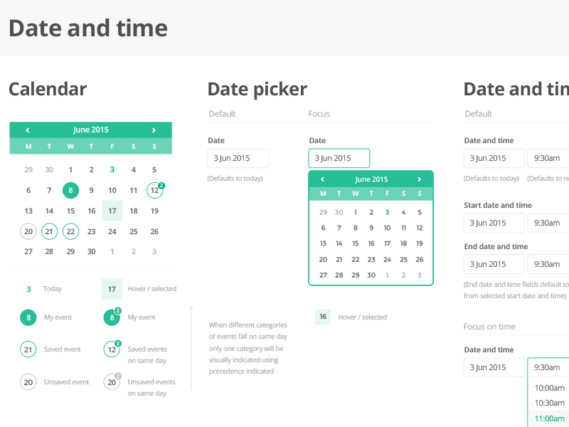 Time And Date Calendar.Ui Kit Date And Time By Paul Hatch For Console Connect By Pccw