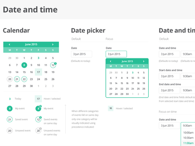 UI Kit - Date and time interface picker time calendar date web kit ux ui
