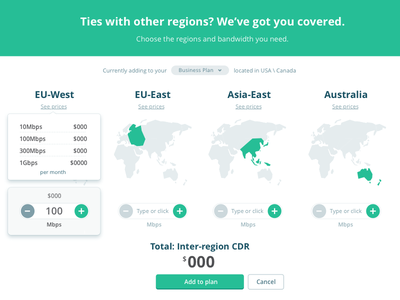 Pricing - Inter-region addons global world network addons pricing ux ui