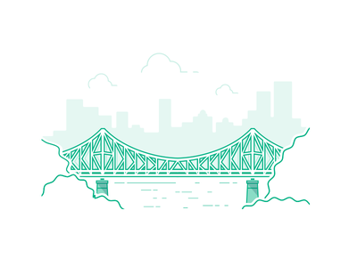 Brisbane! bridge icon line art illustration
