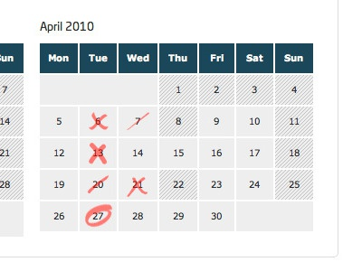 Calendar Dates calendar select dates circle strike