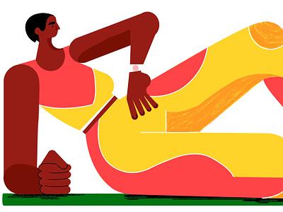 Pilates illustration logo branding app illustration flat illustration editorial illustration design character design advertising illustration
