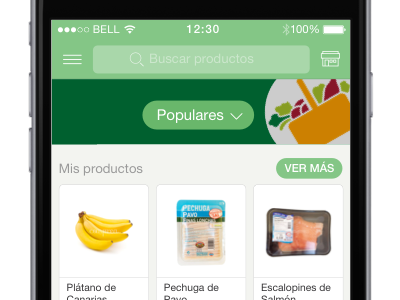 Comprea main screen shopping grocery ios mobile products grid