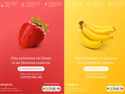 Fruit based posters for Comprea groceries strawberry banana print offline posters
