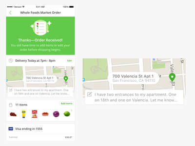 Instacart Orders on iOS map order detail grocery ios