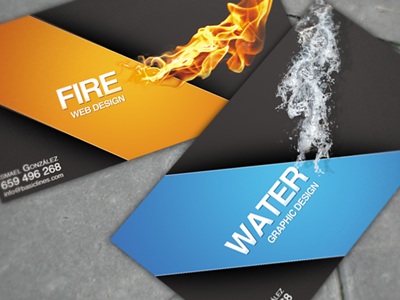 Personal business cards cards business water fire graphic design