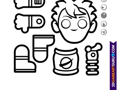 2D RollMonster Astro1b kids papercraft colouring craftsheets 2dgameartguru illustration
