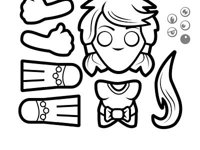 2D RollMonster Princess craftsheets activity papercraft kids colouring illustration vector 2dgameartguru