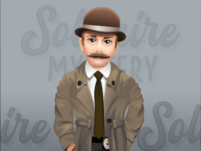 Solitaire Mystery - ingame character - detective affinity designer affinitydesigner gameart characterdesign 2dgameartguru 2dgameart design illustration vector