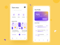 Elearning App university school education coaching online course learning student study ux branding simple dashboard ui learning platform android clean ios ui mobile course elearning
