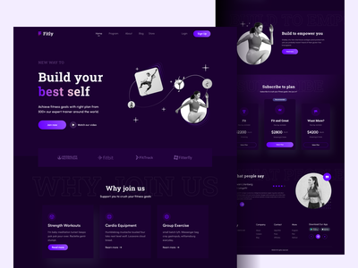 landing page: fitness product typography usability graphic design branding simple fitness landing page fit sporty landing page design sport home website design website ux ui clean design landing page fitness