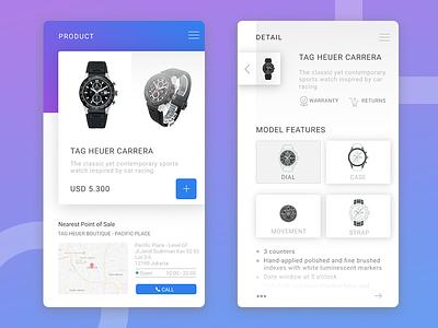 E-commerce mobile app exploration tag heuer watch white ui shop product ios ecommerce clean app