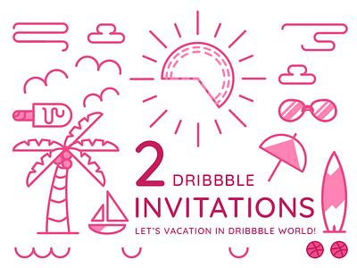 2 Dribbble Invitations icon travel illustration invite indonesia portfolio player giveaway dribbbbleinvitations invitations