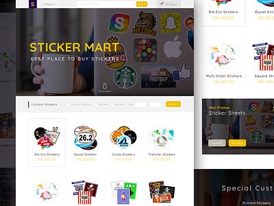E-Commerce Concept for Stickermart business concept exploration online shop product shop ui ux website clean landing page ecommerce