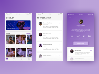 Expert Finder Apps discover photography purple android iphone clean ux ui education learn profile finder