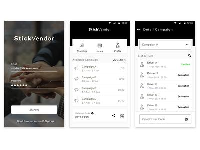 Vendor Management Apps black management simple card ux ui mobile android