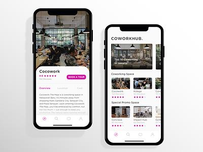 COWORKHUB. mobile app android ui design card ui  ux clean app coworking space coworking iphone x ios