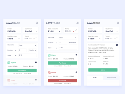 Trading App trader trading card option binary dashboard mobile cards ethereum forex bitcoin clean uiux android ios trading