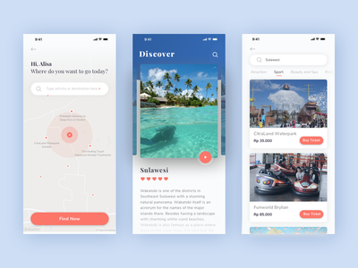 Travel App product simple vacation clean mobile activity card ui  ux ui ios ticket ecommence discover travel