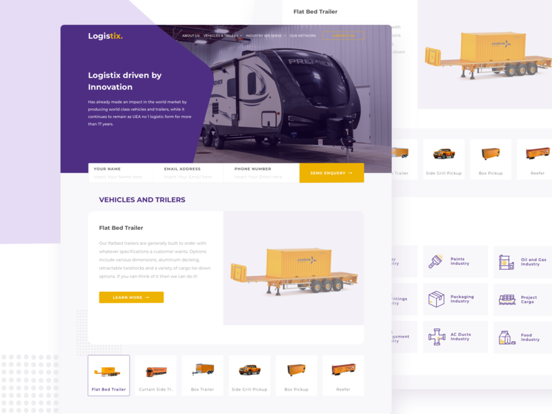 Logistics Website innovation trilers vehicles product landing page card ux orange purple logistics desktop clean website simple ui