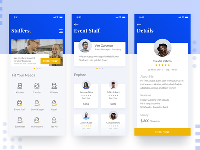 Staffing Mobile Application typography smooth minimalist designer branding apps icon hiring design product simple mobile ux ios clean ui staff