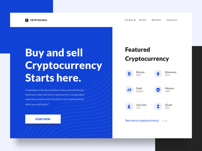 Exploration Homepage website simple design homepage landing page clean bitcoin cryptocurrency bold desktop