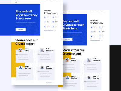 Exploration Homepage design landing page ui desktop exchange bitcoin story testimony bold clean simple cryptocurrency homepage