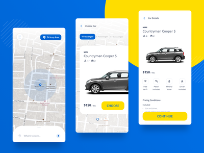 Car Rentals blue branding adventure travel car rental product mobile card simple android ux ios ui clean