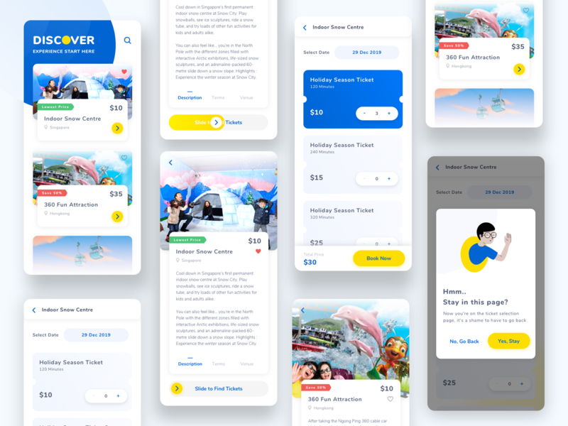 Experience Mobile Apps Exploration illustraion mobile design design attraction entertainment product mobile card android simple ux ui clean ios
