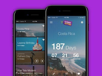 Countdown App for Holiday Extras mobile design ui design ui app ios countdown