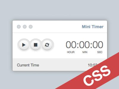 Mini Timer [CSS] freebie free css ui design timer app mac