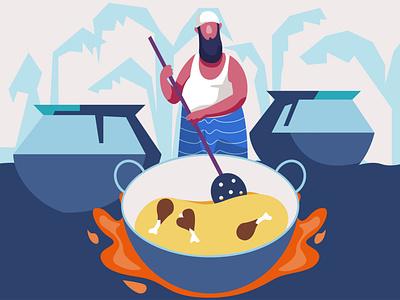 Deshi chief character illustration man cooking food branding graphic design ui logo illustration design cultural illustration chief character illustration character design animation cartoon caracter