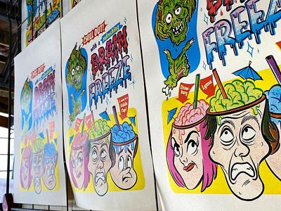 [TUTORIAL] Brain Freeze Screen Print Poster texture retro poster zombie procreate colorlab screenprint retrosupply