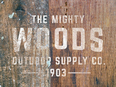 The Mighty Woods weathered logo mock-up logos typography vintage retro texture