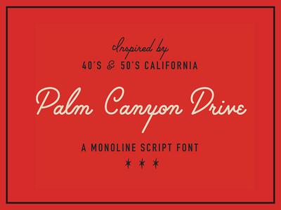 [SALE] Palm Canyon Drive catchwords retrosupply hoodzpah amy hood cursive font hand made script monoline script palm canyon drive