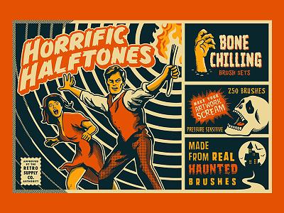 Horrific Halftone Photoshop Brushes illustration dots brushes halftones