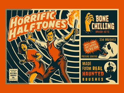 Horrific Halftone Photoshop Brushes