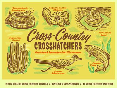 Cross-Country Crosshatchers for Illustrator and Procreate procreate illustrator crosshatching