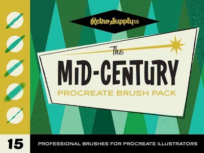 The Mid-Century Procreate Brush Pack cartooning drawing illustration brushes retrosupply vintage retro mid-century procreate