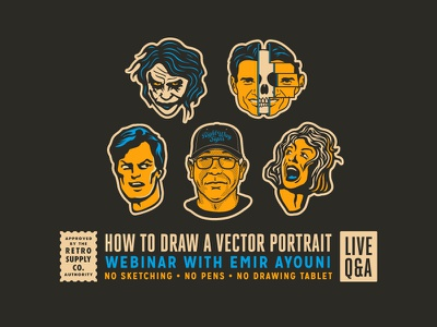 How to Draw Vector Portraits with Emir Ayouni illustrator vector illustration vector art illustration vector adobe illustrator portraits webinar