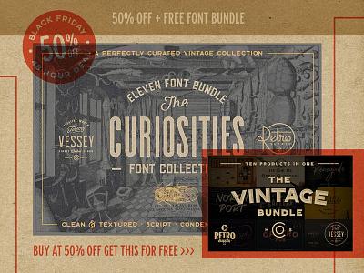 [FREE] The Vintage Font Bundle retrosupply vintage retro free fonts