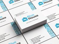 Blue House Business Card branding blue blue house beach house card business card