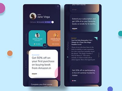learnings dark Version gradient profile offers colors cards dark theme dark trend designs mobile app ux ui