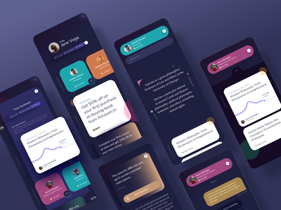 Learnings Dark Version offers learning colors cards ios android designs app mobile design ux ui
