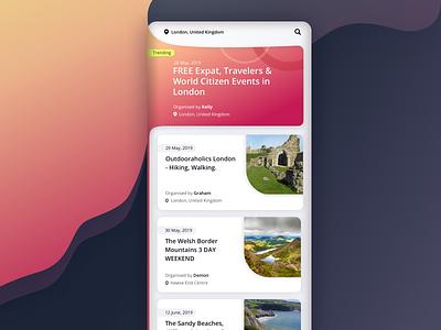 Event Listing minimalist colorful ux design listing travel event mobile design app design ui design