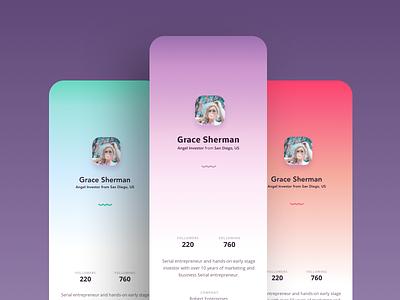 Profile Design minimalist uxdesign colorfull profile page app ui app design design ui design