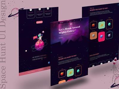 Space Hunt l UI/UX Design web interface dribble mockup landing page uiinspiration ux design ui design illustration homepage design website web ui user experience user interface space ui space uiux ux ui